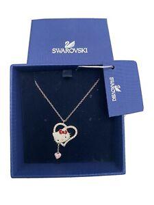 Hello Kitty x Swarovski kitty Face Necklace Heart Ribbon (New)