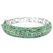 NATURAL 68 PCS. GREEN EMERALD COLUMBIAN OVAL STERLING 925SILVER BANGLE SIZE 6.5""