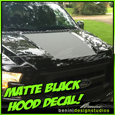 2015 2016 Ford F-150 F150 Matte Black Hood Black Out Stripe Graphics Solid Style