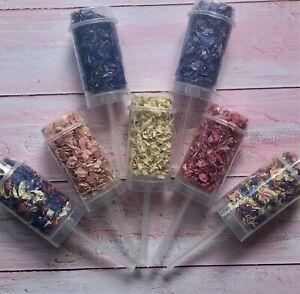 Biodegradable Confetti Push Pop Petals Delphiniums Natural Eco Wands pink Purple