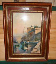 tableau ancienne aquarelle signée représentant un port marine avec bateau