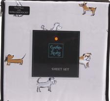 NEW FULL DOUBLE SIZE SHEET SET DOG PRINT PUPPY PRINT POODLE PRINT MICROFIBER