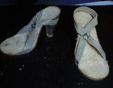 "Vintage 1940's-50's Dolls Shoes High Heels Clear W/ Blue Rhinestones Dolshoe 2"""