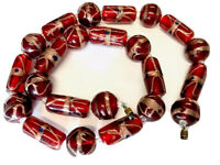 Vintage Heavy Ruby / Red Blue Aventurine Glass Bead Necklace 18.5 Inches Long