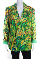 FARM Rio Womens Linen Banana Print Blazer Green Yellow Size Medium