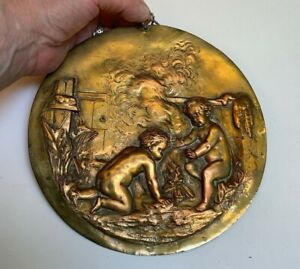 Victorian Antique relief Gold Bronze~Naked Putti Billowing Bonfire Flue Cover