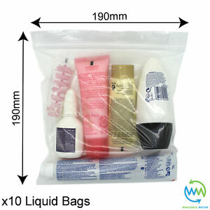 10 x Clear AIRPORT SECURITY LIQUID BAGS Plastic Seal HOLIDAY Travel HAND LUGGAGE