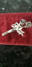 White Metal Rose Flower Brooch Pin Stamped 'Silver'