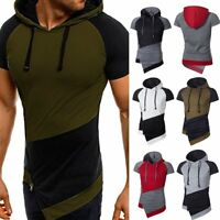 Fashion Men's Slim Fit Hooded Short Sleeve Muscle Tee T-shirt Casual Tops Blouse