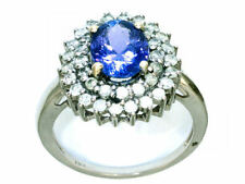 Tanzanite Cluster Engagement Oval Fine Gemstone Rings