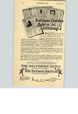 1923 Paper Ad Newspaper Baltimore News American Dan A Carroll J E Lutz