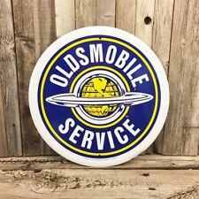 """Oldsmobile Service Olds Rocket V8 Metal Tin Round Sign 12"""" Garage Vintage New"""