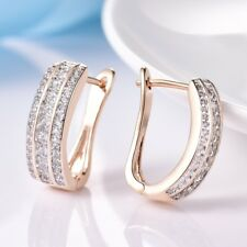Fashion Womens Jewelry 18K Yellow Gold Filled Topaz Crystal Hoop Earrings