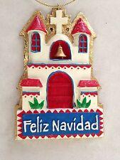 "Multicolor 2 1/2 X 4"" FELIZ NAVIDAD CHURCH Figurine Ornament"
