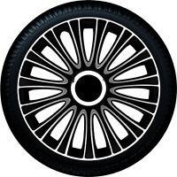 4 Copricerchi auto universali coppe ruota 14'' GORECKI LE MANS nero silver