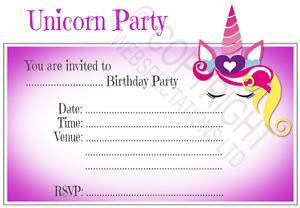 1-100 PACK UNICORN BIRTHDAY PARTY INVITATIONS Cards Girls Kids Invites Envelopes