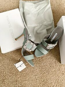 NEW MANOLO BLAHNIK Gable Crystal Buckle Slide Sandal, Grey, EUR 40
