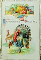Thanksgiving Greetings Vintage Embossed Postcard Posted 1910 Turkey Antique