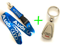 Audi Keychain TearDrop Silver Metal & Blue Lanyard ID Badge Cardholder Bundle