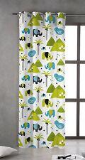 NATURALS ELEPHANT– Cortina 150 cm x 270 cm blanco, verde, azul // Curtain