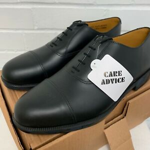 BRITISH ARMY BLACK LEATHER PARADE DRESS SERVICE SHOES With toe caps , Sizes NEW