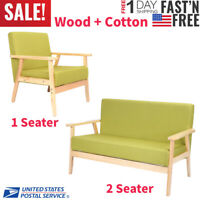 1/2 Seater Cotton Sponge Accent Sofa Chair Lounge Seat Arm Chair Bedroom Garden