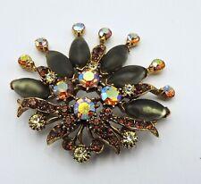 Florenza Vintage Crown Pin Brooch Gold Tone Amber AB Citrine Stone