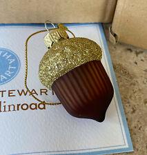 "12 Martha Stewart Grandin Road 2.5"" Glass Acorn Nut Christmas Tree Ornaments"