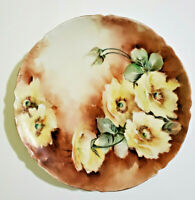 Haviland Limoges France Plate hand painted Yellow Roses 8.5""