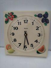 Vintage Bulova Plastic Painted Fruit Battery Wall Clock 1950-60s Works 7.5x7.5