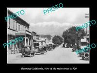 OLD LARGE HISTORIC PHOTO OF BANNING CALIFORNIA, VIEW OF THE MAIN STREET c1920