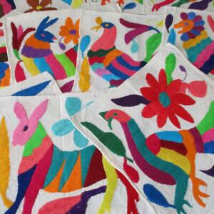 12 Muslin OTOMI Napkins FOLK ART Embroidery Colorful BIRDS Spirit ANIMALS Unused