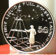 Marshall Islands $ 50 1989 999 Silver Proof~1st LIQUID FUEL ROCKET LAUNCH 1926