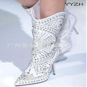 Punk Women Rivet Metal Mid Calf Boots Stiletto High Heels Rhinestone Party Shoes