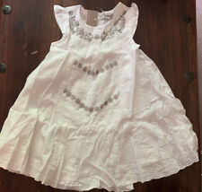 Next Girls Gorgeous White Lined Broderie Lace Silver Dress💐1.5-2yrs 18-24  BNWT