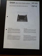 ORIGINALI service manual Saba PSP 45