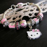 Pink Hello Kitty European Charm Bracelet With Pink Hearts And Rhinestone Beads