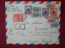 COLOMBIA TO HUNGARY / RARE REGISTERED AIRMAIL / 1952