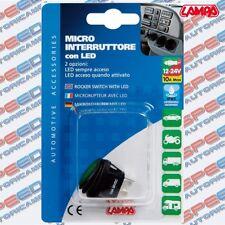MICRO INTERRUTTORE CON LED VERDE LAMPA 12-24V 10A MAX IMPERMIABILE ART. 45536