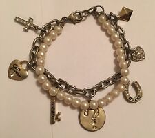 Costume Jewelry Bracelet Faux Pearl Signed Guess
