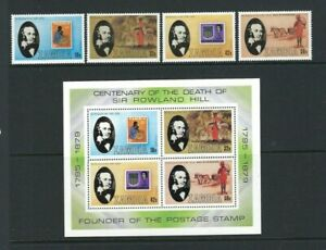Zambia 1979, Death Centenary of Sir Rowland Hill sg296/9 & MS300 MNH