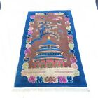 """Antique Chinese """"Temple of Heaven"""" Wool Rug 4 x 7 Art Deco Bright Colors VTG"""