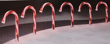 "SET 6 10"" LIT LIGHTED CANDYCANE CHRISTMAS PATHWAY DRIVEWAY DECORATIONS STAKES"