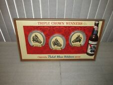 "Pabst Blue Ribbon Beer sign Triple Crown Winners Bottle 3D 22"" x 12"" Rare Nice"