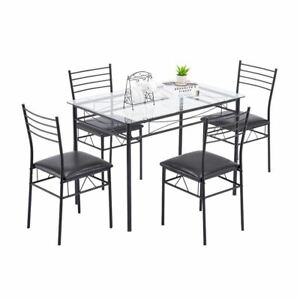 Zimtown 5 Pieces Dining Set Table with 4 Chairs Kitchen Dining Room Furniture Gl