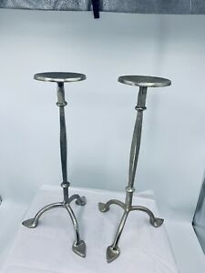 """WROUGHT ALUMINUM CANDLE STAND CANDLE HOLDER PILLER 17"""""""