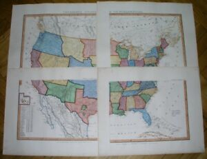 1856 RARE ORIGINAL MAP UNITED STATES TEXAS FLORIDA CALIFORNIA GEORGIA NEW YORK