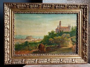 TABLEAU ancien 1920 signé Peinture huile toile HST paysage marine village sud