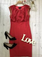 Ted Baker Size 3 UK 12 red diamante fitted pencil party dress Elate VGC silk
