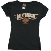 Harley Davidson Womens Tee Shirt Black Size Small Sparkly Lettering Fitted